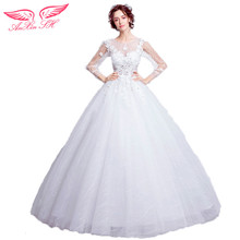 AnXin SH White flower princess wedding dress lapel bridal flower white wedding dress lace princess wedding dress new 6916
