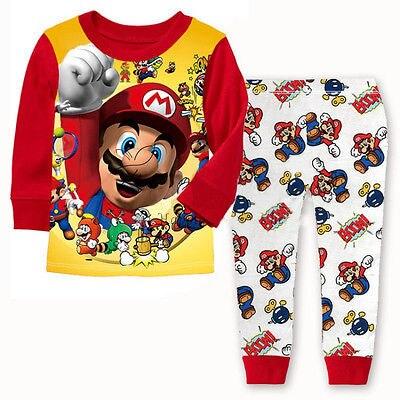 Hot Selling Baby Boys Toddler 2PCS Set Super Mario Sleepwear Nightwear Pajamas Set 1-7Y