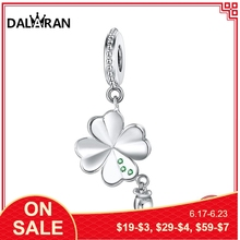 DALARAN Four-Leaf Clover Charms Fit DIY Bracelet Necklace Pendant 925 Sterling Silver Beads For Fine Jewelry Making Women Gift