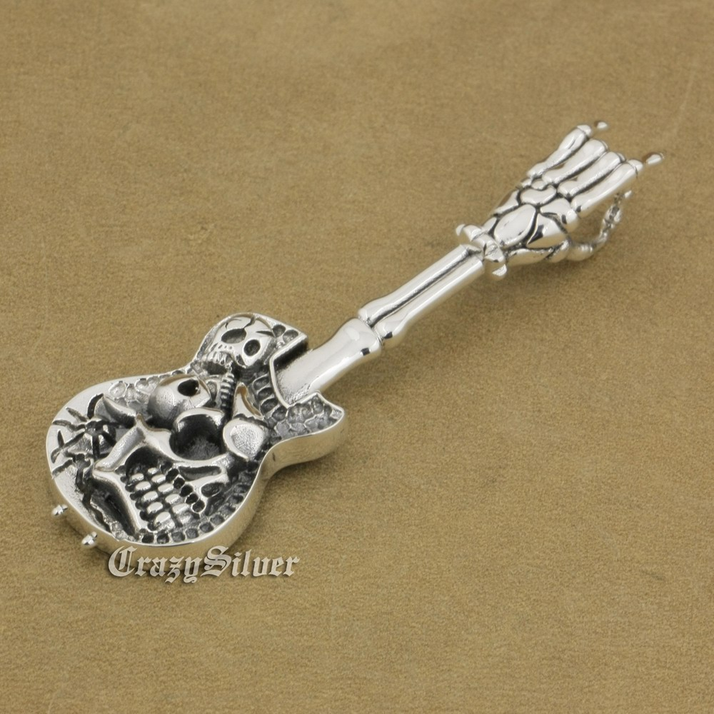 LINSION 925 Sterling Silver Hand Bone Skull Guitar Pendant Mens Biker Rock Punk Style 9M022 Just Pendant