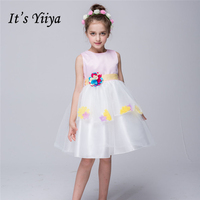 It's YiiYa Sleeveless White Blue O-Neck Bow Appliques Lace Sashes Pattern Kids Princess Flower Girls Dress Communion TS101