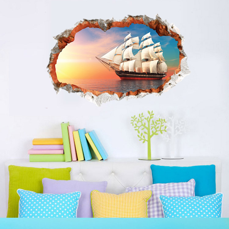 3D Break Wall Vilier in the Sea under the Setting Sun Wall Decal Sticker Sailing Ship Wall Art Mural Poster Decor Wall Applique