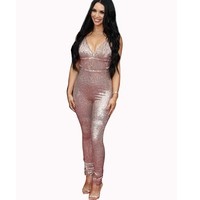 pink glitter sequin bodysuit women rompers womens jumpsuit body feminino combinaison femme sexy backless party club jumpsuits