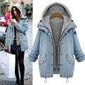 Plus Size 2016 Outono da Mulher do Inverno Engrossar Casacos de Capuz Denim Bolso Middel Longas Outerwear Twinset