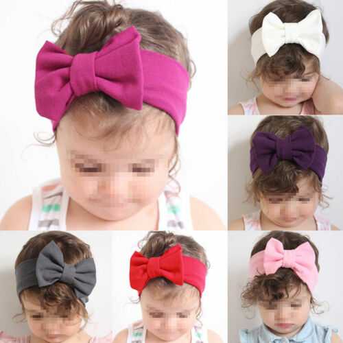 Fashion Toddler Girls Kids Headband Baby Girl Big Bow Hairband Headband Stretch Turban Knot Baby Turbans Accessoire Red Yellow