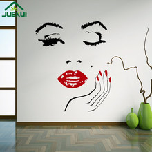 Sexy Star Marilyn Monroe Wall Sticker Girls Face With Red Lip And Nail Vinyl  Wall Decal Living Room Home Decor Murals JA761