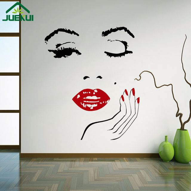 Good Sexy Star Marilyn Monroe Wall Sticker Girls Face With Red Lip And Nail  Vinyl Wall Decal