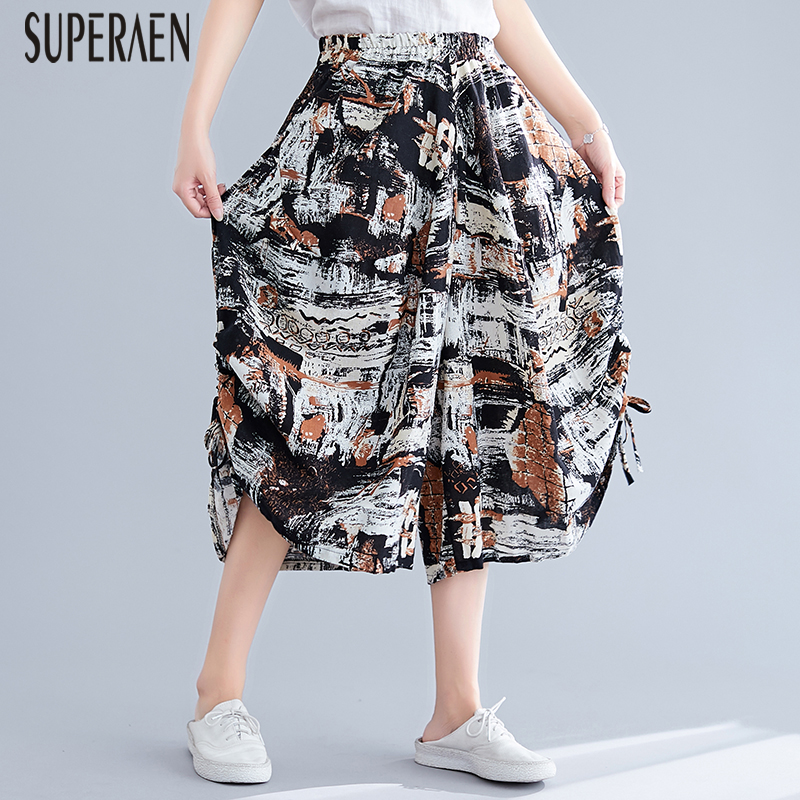 SuperAen Pluz Size   Pants   Women 2019 Summer New Cotton Calf Length   Pants   Female Elastic Waist Casual Ladies   Wide     Leg     Pants