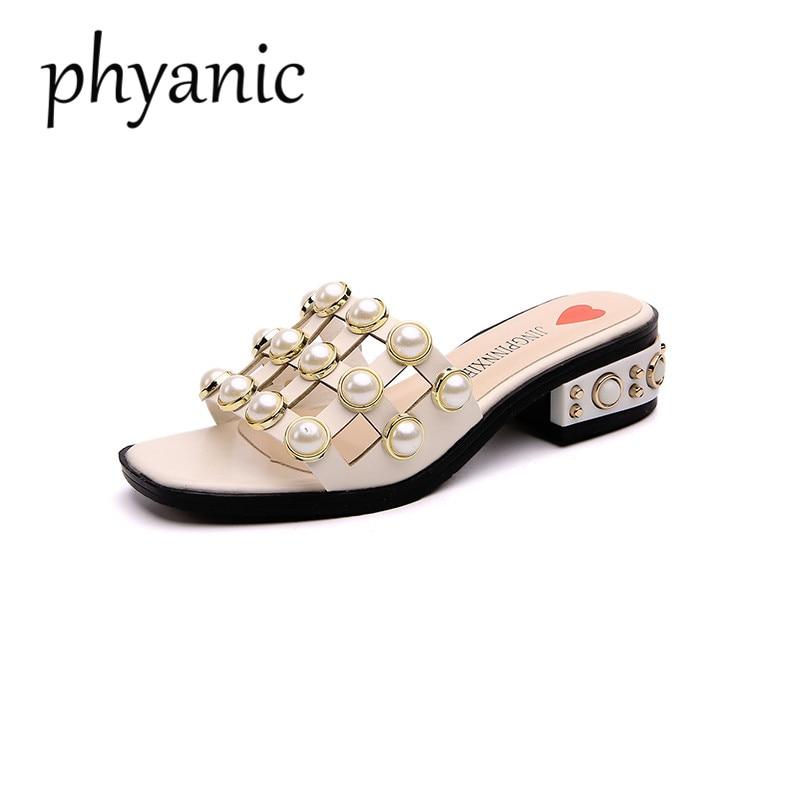 Phyanic брендовые летние женские шлепанцы сандалии на низком каблуке вырез жемчугом женские туфли на шпильке с открытым носком на высоком кабл...