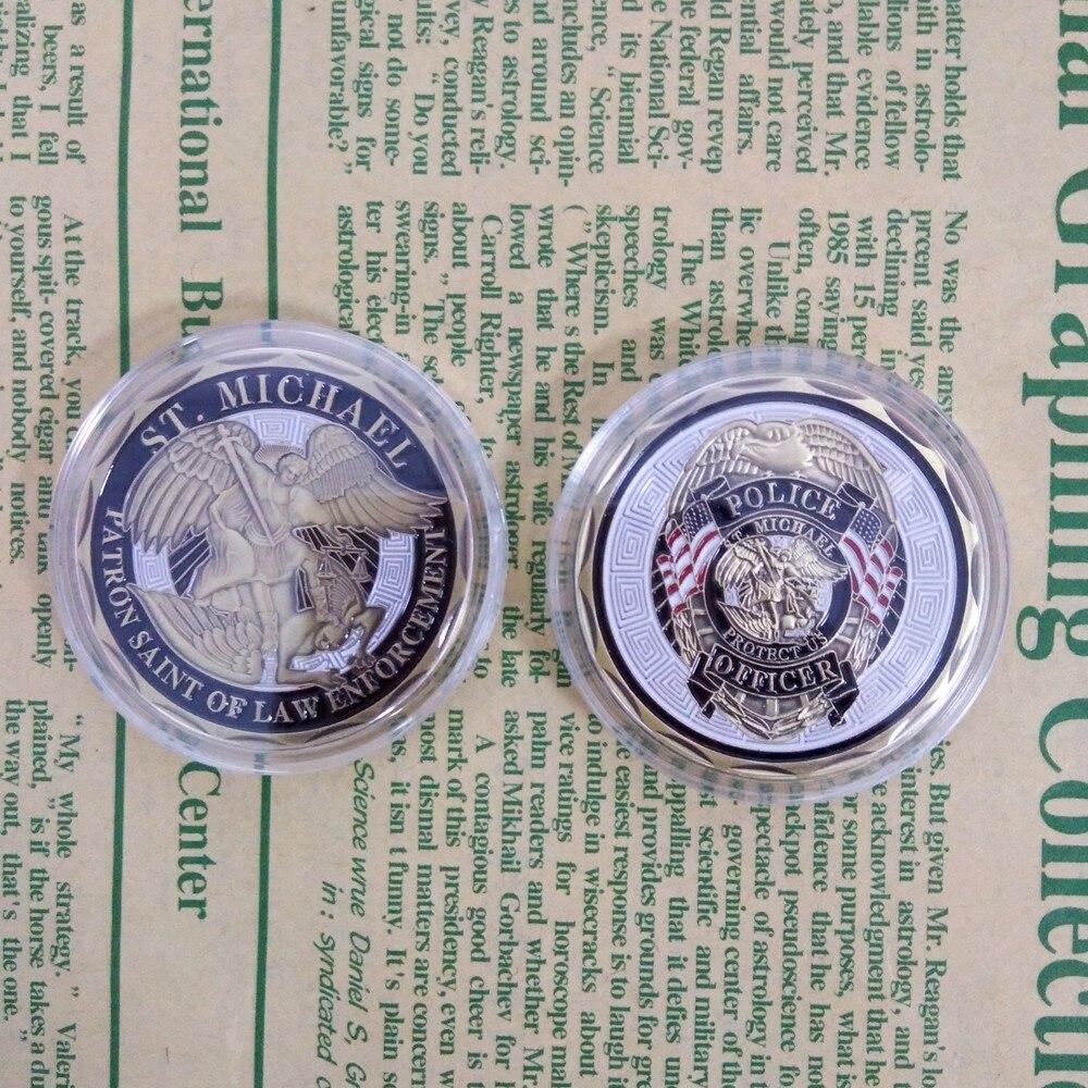 1 PC nouvelle arrivée Policier ST Michael Saint Patron de L'application Des Lois sont Confrontés Coin, Bronze Plaqué Coin, des Coin Etat