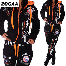 ZOGAA 2019 Tracksuit For Women S-3XL Womens Casual Sportwear Hooded Sweatshirt and Pants Suit two piece set tracksuit