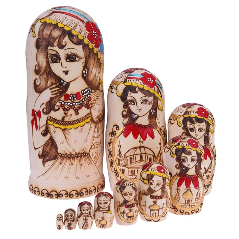 10pcs Wooden Ethnic Girl Russian Matryoshka Doll Wood Nesting Handmade Crafts Dolls Kids Collection Decoration Gift