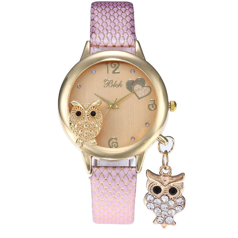 2019 Fashion Ladies Wrist Watches Lady Owl Pendant Charm Diamond Watch Women Gold Buckle Clock Rhinestone Watch For Women