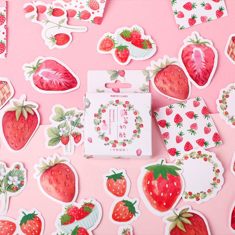 45Pcs/Lot Fruit Pink Strawberry Decoration Paper Sticker DIY Album Diary Scrapbooking Label Sticker School Supplies