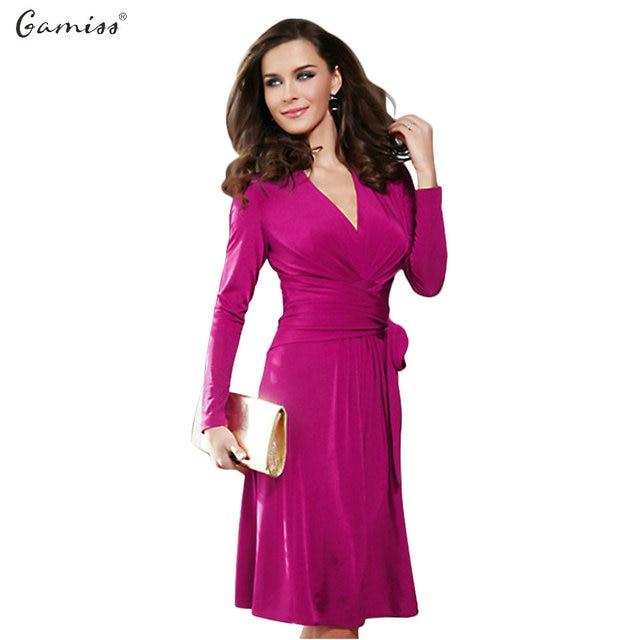 Gamiss New Women Winter Dress V Neck Midi Dresses Elegant Ladies