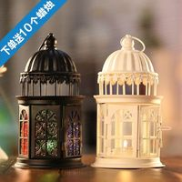 Morocco European glass candlestick Vintage iron lamp Iron Candle Chandelier hanging glass ornaments