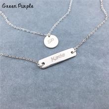925 Silver Coin Necklace Custom Layered necklace Name Chocker Handmade Letter Jewelry Personalized Pendants Boho Kolye