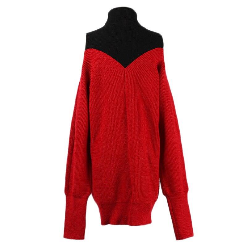 Pull 2018 Long rouge Forme Col Robe En Décontracté À Dame De Mode Noir Longues Manches Solide Roulé Tortue Chandail xqBXqgwC