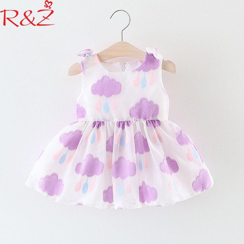 R&Z Baby Girls Dresses 2018 New Korean Summer Sleeveless Cartoon Clouds Lovely Princess Dress for Infant Children's Clothing