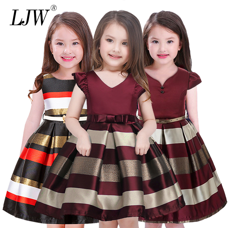 Hot Sale Bow Striped Princess Of Girls Baby Reception Formagirls Clothes Ball Gown For Girl Dress Knee-length Style 2-12year new girls dress summer lace vest sleeveless princess peng baby girl children england style knee length crew neck ball gown