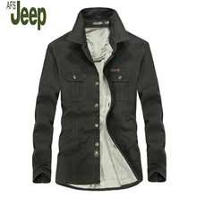 2017 Autumn And Winter Men's New AFS JEEP Plush Shirt With Long Sleeves Comfortable Warm Casual And Large Size Shirt 6XL  138