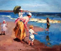 Hand Painted Fine Art At the Beach by Edward Potthast Oil Painting for Home Decoration Impressionist Canvas Painting Portrait