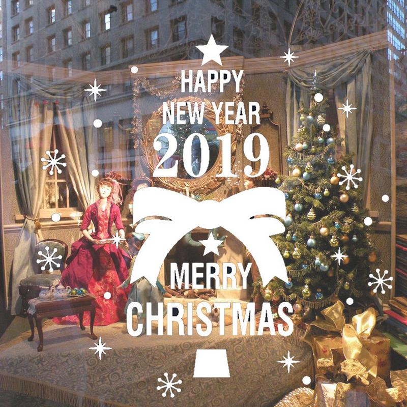 Merry Christmas Images 2019.Us 2 38 35 Off 2019 Merry Christmas Happy New Year Wall Stickers Christmas Theme Tree Bowknot Pattern Wall Window Stickers Decoration In Wall