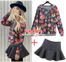 Women Clothing Set 2014 Free Shipping Popular Fashion Lady Spring Print Female Sweatshirt Casual Hoodies+Short Skirt Set