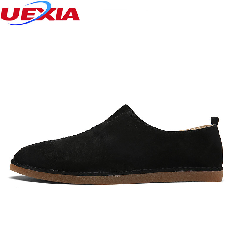 UEXIA Walking Spring Summer Leather Hand-sewn Men Shoes Casual Footwear Slip-on Designer Luxury Flats Driving Loafers Moccasins split leather dot men casual shoes moccasins soft bottom brand designer footwear flats loafers comfortable driving shoes rmc 395