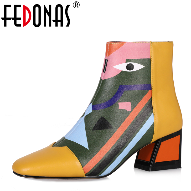 FEDONAS Fashion Brand Women Ankle Snow Boots Warm High Heels Martin Shoes Woman Party Wedding Pumps Basic Genuine Leather Boots