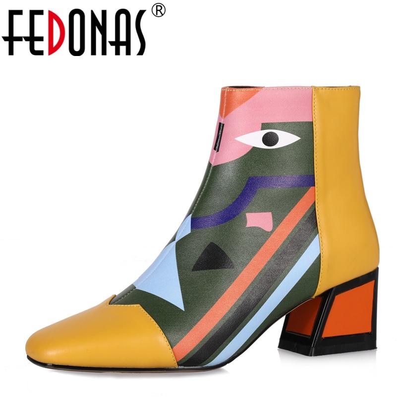 FEDONAS Mode Marque Femmes Cheville bottes de neige Chaud talons hauts chaussures martin Femme Pompes De Mariage De Partie De Base bottes en cuir véritable