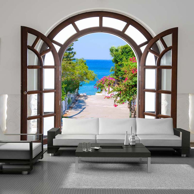 Custom 3D Photo Wallpaper European Style Window Expansion Space Large Murals 3D Outside the Window Scenery Mural Wall Paper Roll world outside the window paper