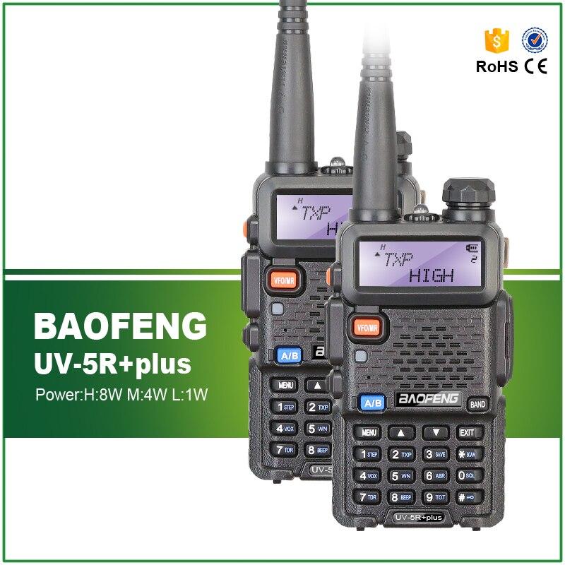 2 шт. Baofeng UV-5R plus 8 Вт Высокая мощность VHF/UHF 136-174/400-520 МГц двухдиапазонный двухсторонний радиоприемник + наушник UV-5R plus