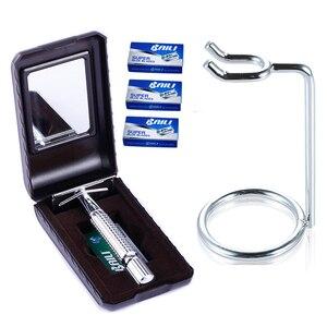 1 Безопасная бритва + 1 Подставка + 30 лезвий, мужской набор для бритья, ручной набор для бритья для мужчин, Maquinillas De Afeitar