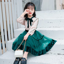 Teen Girls Clothing Set Kids Clothes Ruffle Shirt Mesh Skirt Suit Children Costume 2019 Autumn Girls Outfits 6 8 10 12 Year(China)