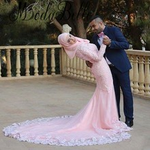 Saudi Engagement Hijab Muslim Women Arabic Dress Long Evening Gown 2015 Pink Lace Mermaid Long Formal Dresses With Sleeves