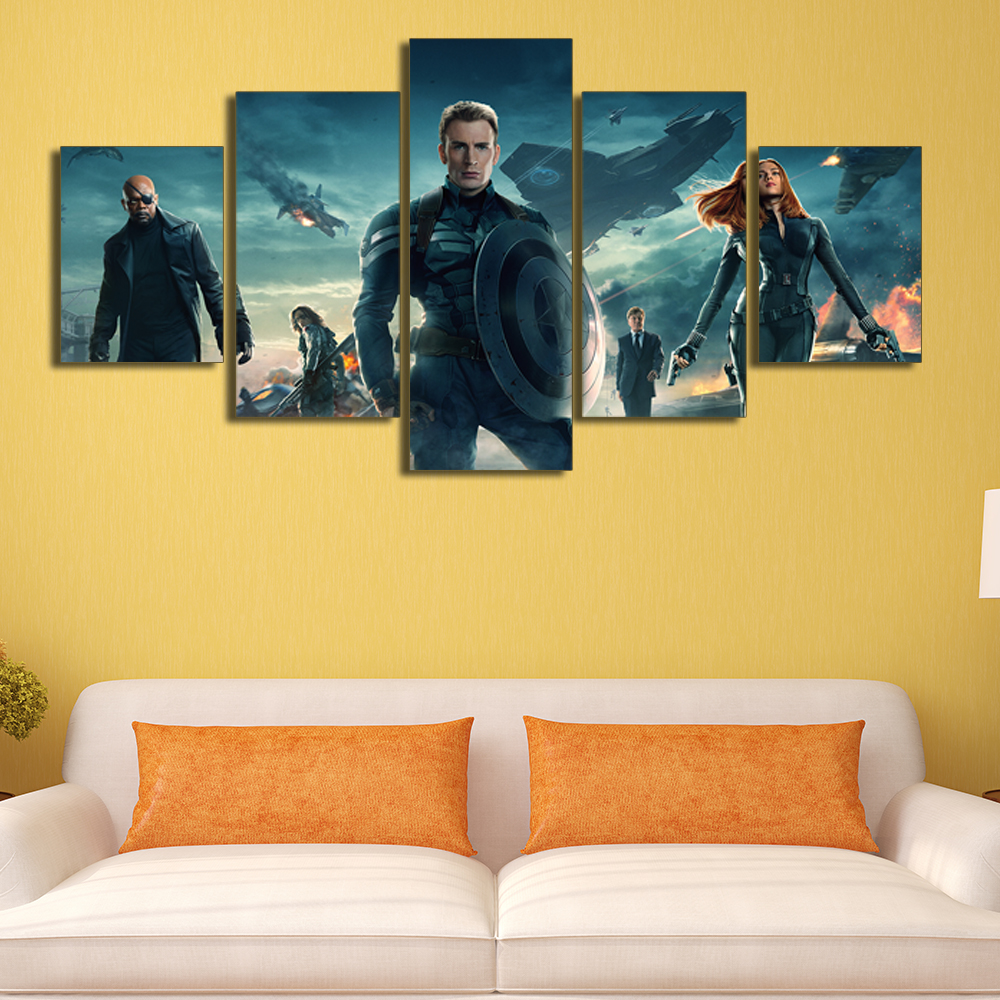 5 Panels Wall Art Picture Living Room Movie Poster Captain America ...