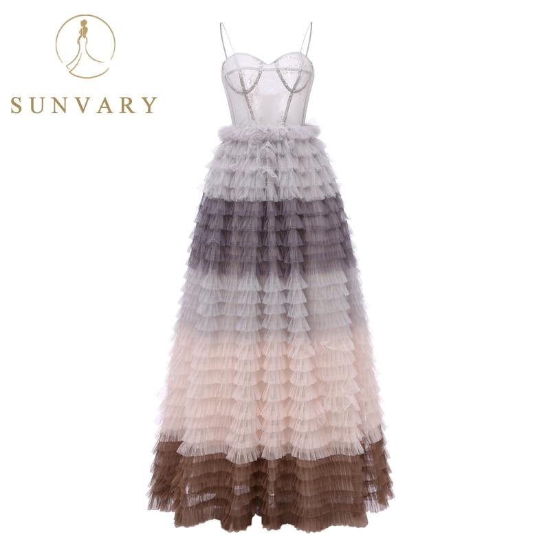 Suknia Balowa Spódnica Sunvary Spaghetti Strap Sukienki Na Bal - Suknie specjalne okazje - Zdjęcie 2