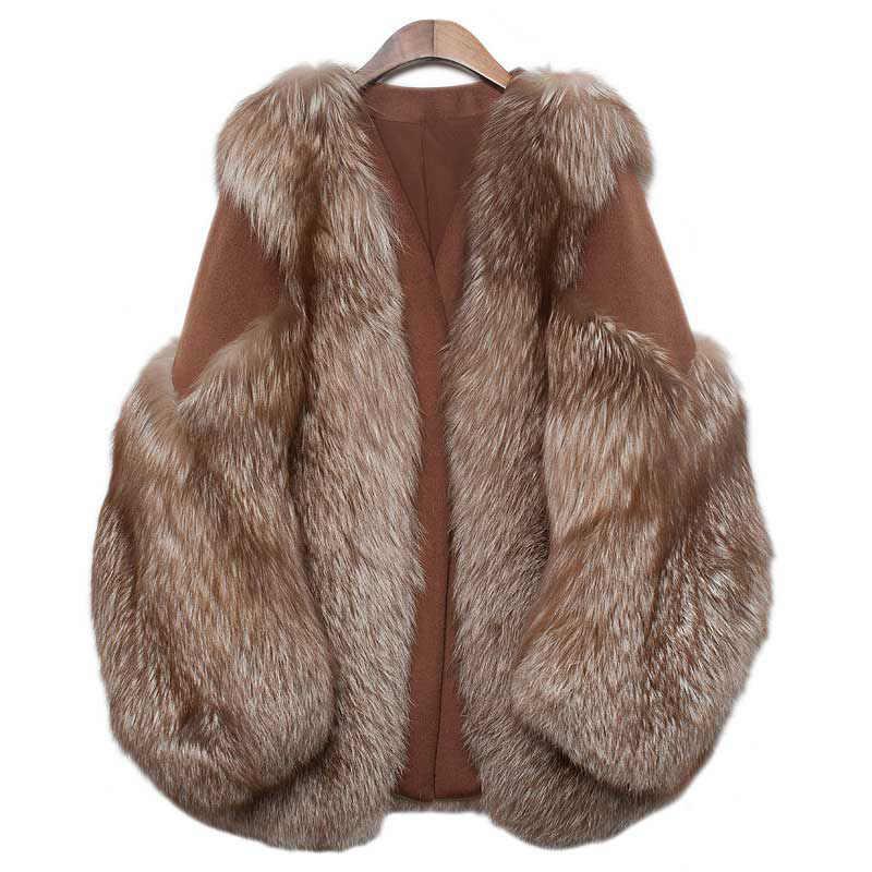 ETHEL ANDERSON натуральный Лисий меховой длинный жилет Модный шоколадный цвет стиль весь лисий мех пальто Женская любовь верхняя одежда с длинными рукавами