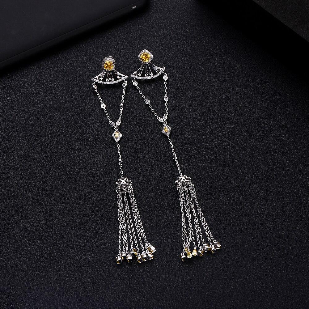 4a061fd7833fca janekellyTrendy Luxury Long Tassels Dangle Earrings For Women Wedding Cubic  Zircon Crystal African Dubai Silver Bridal