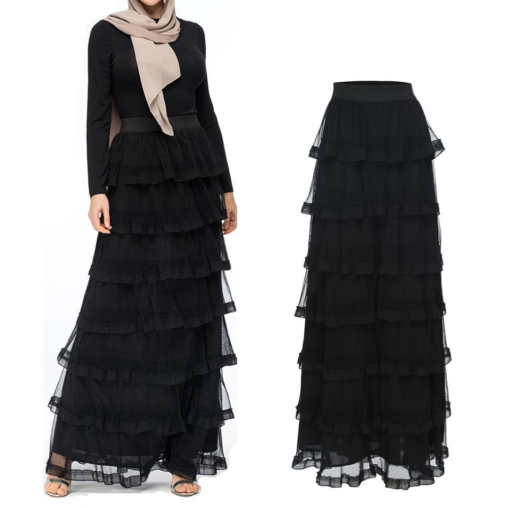 6904e5b23a Fashion Women's Long Skirt Mesh Pleat Muslim Bottoms Ruffle Cake Layered  style Pencil High Waist Ramadan
