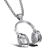 2017 Hip Hop Jewelry Men Necklace Stainless Steel Music Headphone Pendant Necklaces Cool Gifts Mens Jewellery