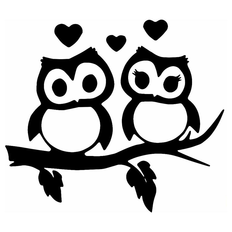 16 5 14 5cm Lovely Owls Couple Heart Car Styling Decal