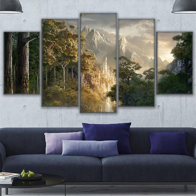 5 Panel Lord Of The Rings Scene Art Prints