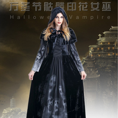 skeletons printing enchantress euramerican long The vampire clothing The queen costumes hooded Long skir  Cosplay