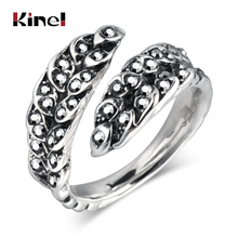 Kinel Vintage Silver Gray Crystal Ring For Women Resizable Finger Rhinestone Paved Leaves Party Female Fashion Jewelry