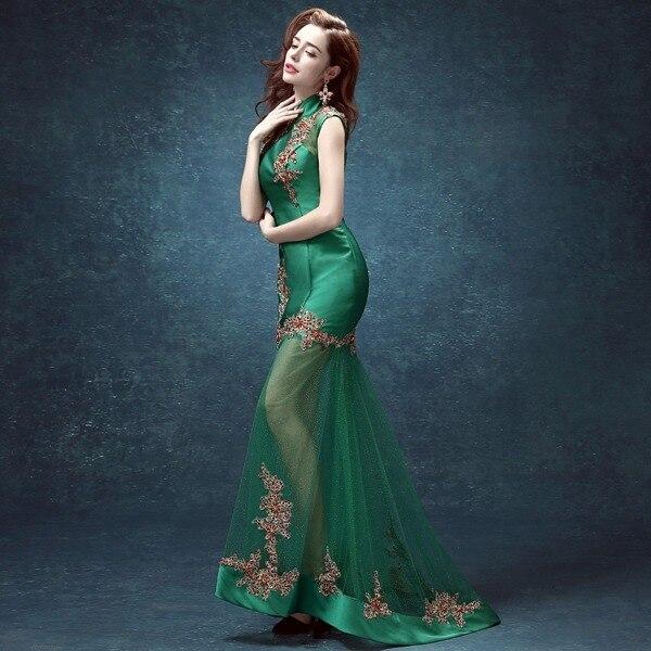 femmes vert dentelle dos chinois collier chinois cheongsam moderne - Vêtements nationaux - Photo 3
