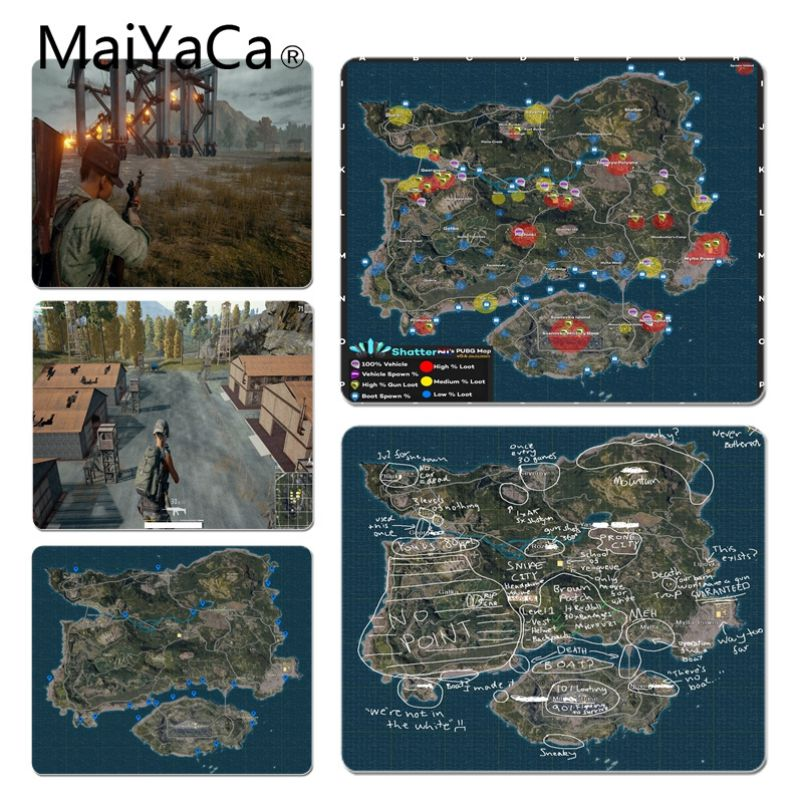 MaiYaCa In Stocked PUBG Game Map Comfort Mouse Mat Gaming Mousepad Size For 180*220 200*250 250*290 Design Mouse Pad