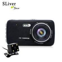 Best price SLIVERYSEA 4.0″ Car DVR Dash Cam Dual Lens HD 1080P 170 Degree DVRS With Rear Camera Night Vision G-Sensor Auto Video Recorder