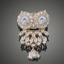 Mini Cute Owl Design Luxury Very Shiny Cubic Zircon Broches Gold color Wedding Brooches for Girl Gift X00120(China)